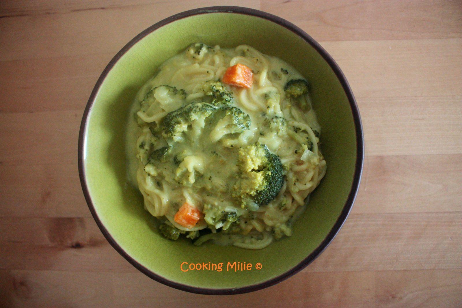 One pot pasta spaghettis au curry crémeux de brocoli et lait de coco