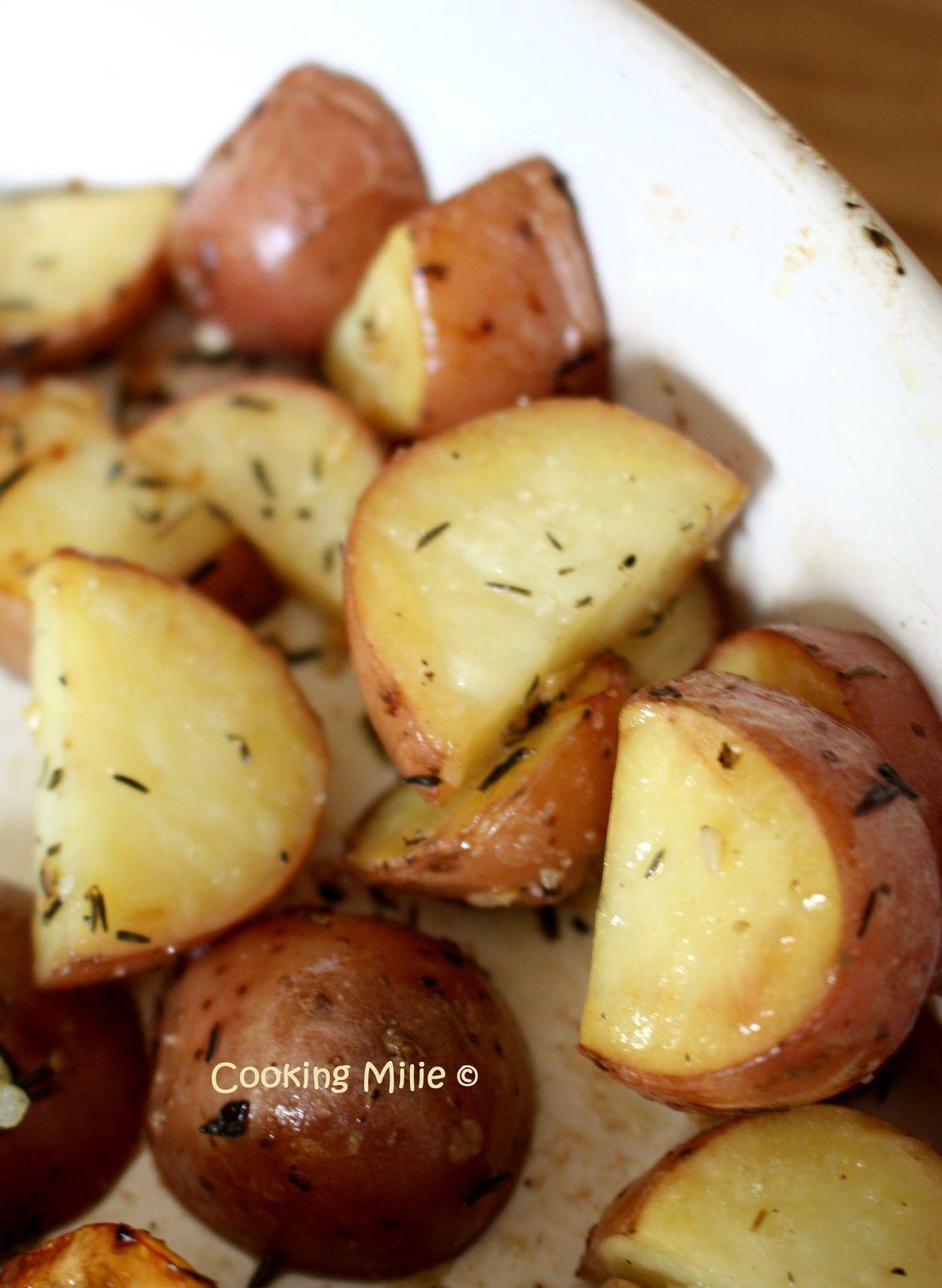 Aiguillettes de poulet au citron et pommes de terre rôties au thym