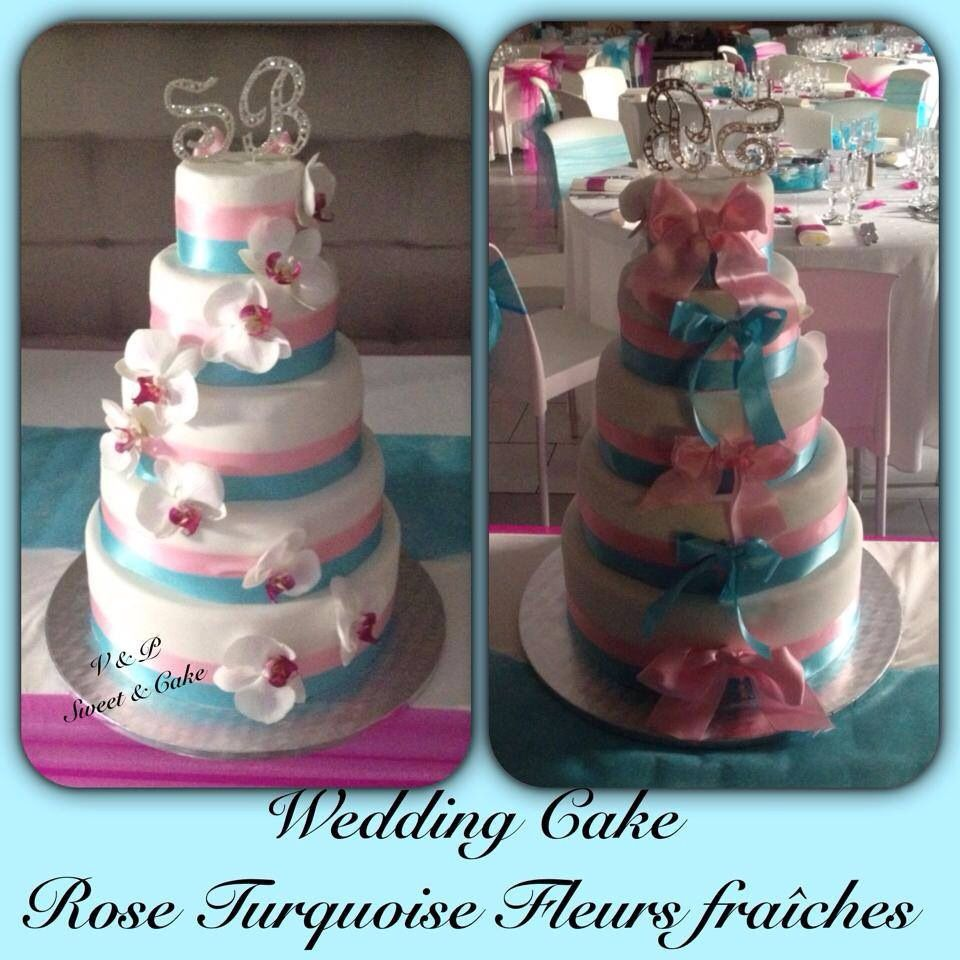 Gateau Wedding Cake Orchidee Bleu Et Rose Et Blanc
