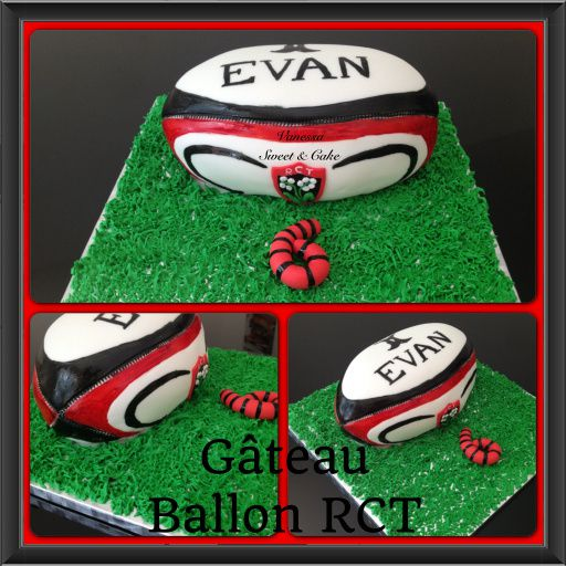 G teau ballon rugby rct vanessa sweet cake - Ballon rugby chocolat ...