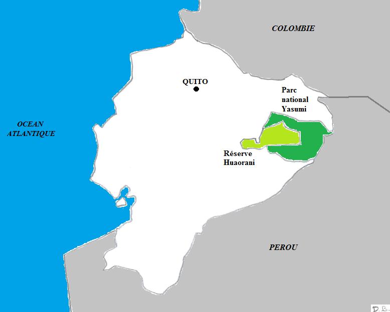 Le Parc national Yasuni et le domaine réservé aux Indiens, dans la géographie de l'Équateur.