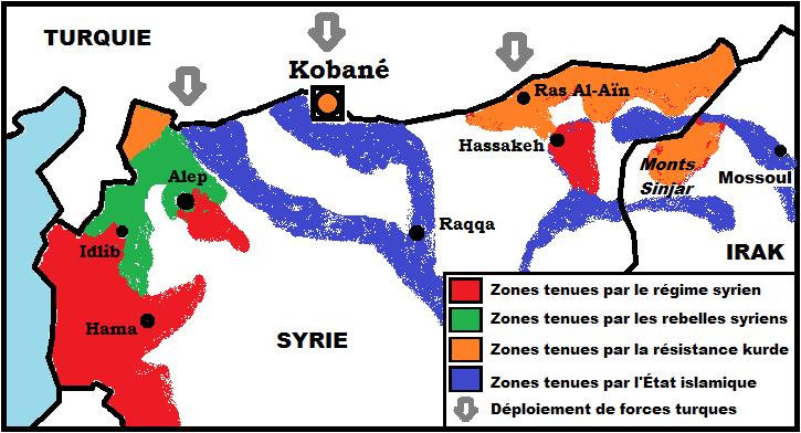 La position stratégique de Kobané pour l'État islamique.