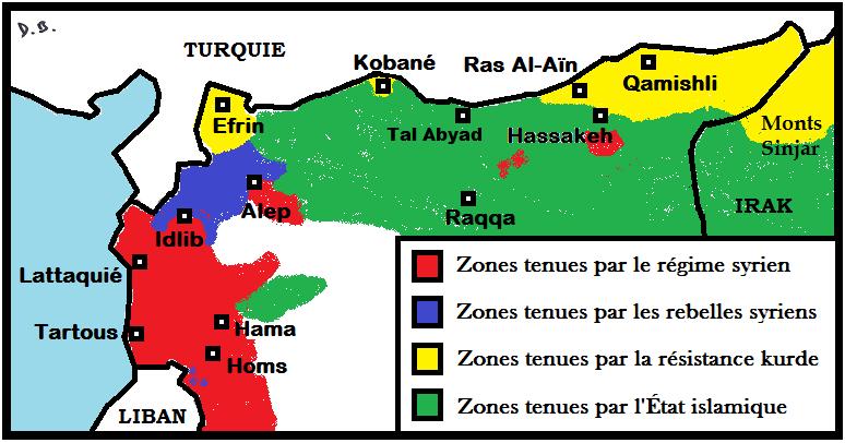 Situation du nord de la Syrie le 1er octobre 2014.