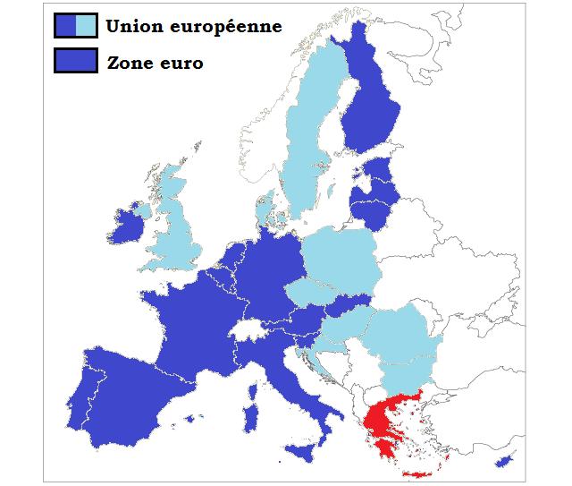 Depuis sa création, la Zone euro n'a fait que s'élargir. Après l'adhésion de la Slovénie en 2007, de Chypre et de Malte en 2008, et de la Slovaquie en 2009, les trois États baltes ont successivement adopté l'euro : l'Estonie en 2011, la Lettonie en 2014, et la Lituanie en 2015. Membre le 1er janvier 2001, la Grèce représente à peine plus de 3% de la population de la Zone euro, et environ 2% du PIB. La France représente quant à elle près de 20% de la population de la Zone euro, et un peu plus de 19% de son PIB – le deuxième après l'Allemagne (28% du PIB de la Zone euro).