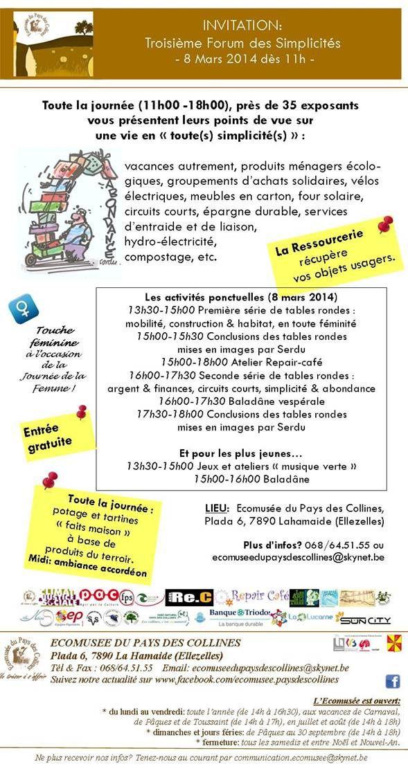 08/03/2014 Troisième Forum des Simplicités au Pays des Collines
