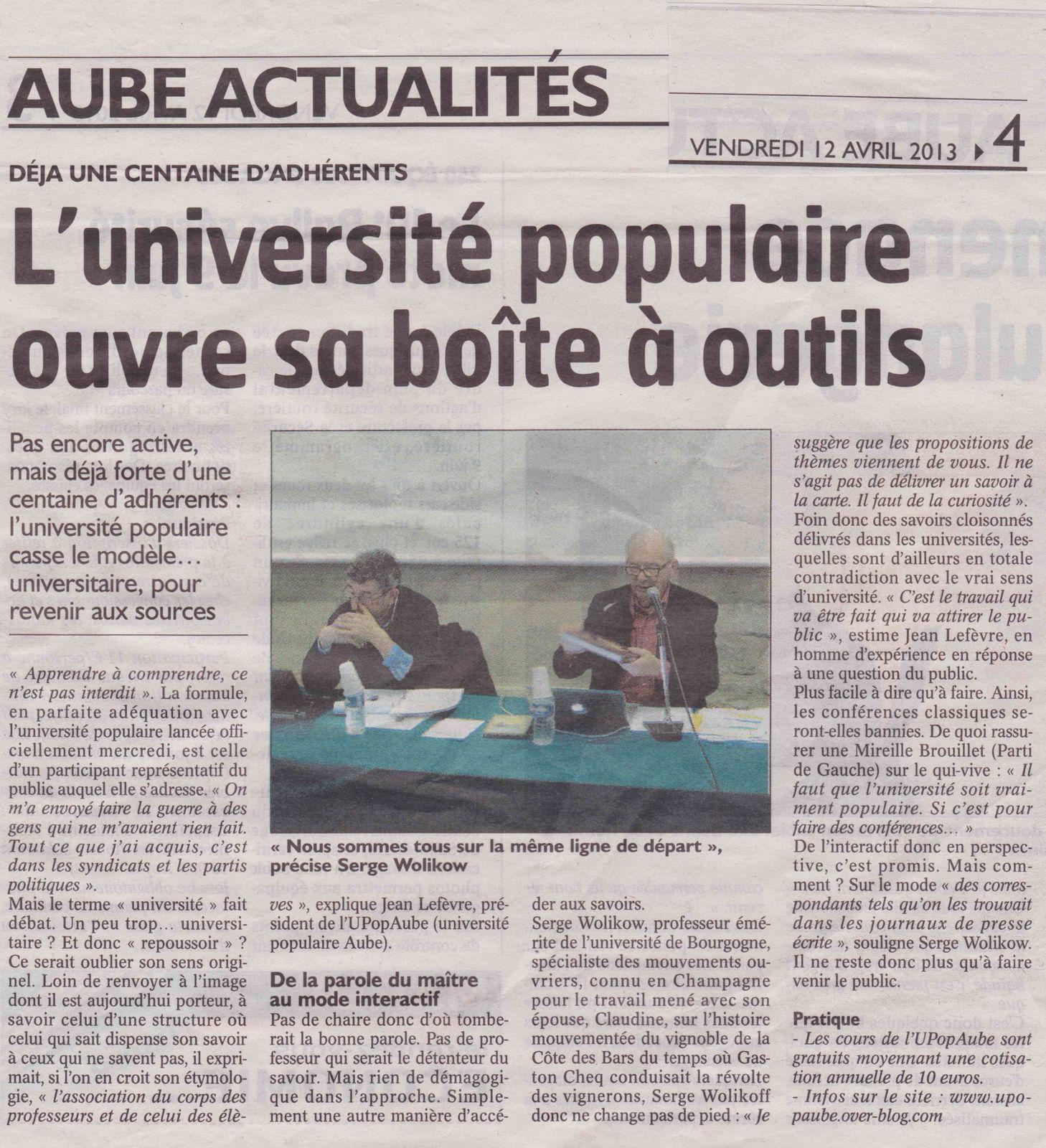 UNIVERSITE POPULAIRE - Presse du 12 Avril 2013.