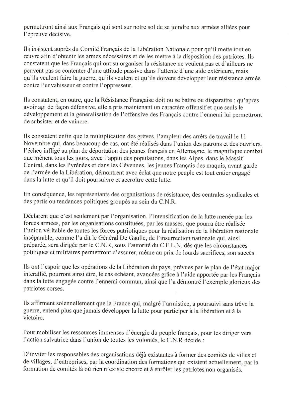 Programme du Conseil National de la Résistance.
