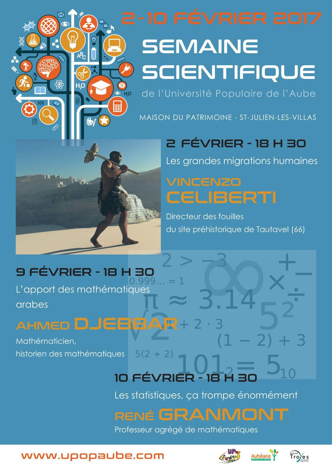 2 ~ 10 FÉVRIER : LA SEMAINE SCIENTIFIQUE DE L'UPOPAUBE