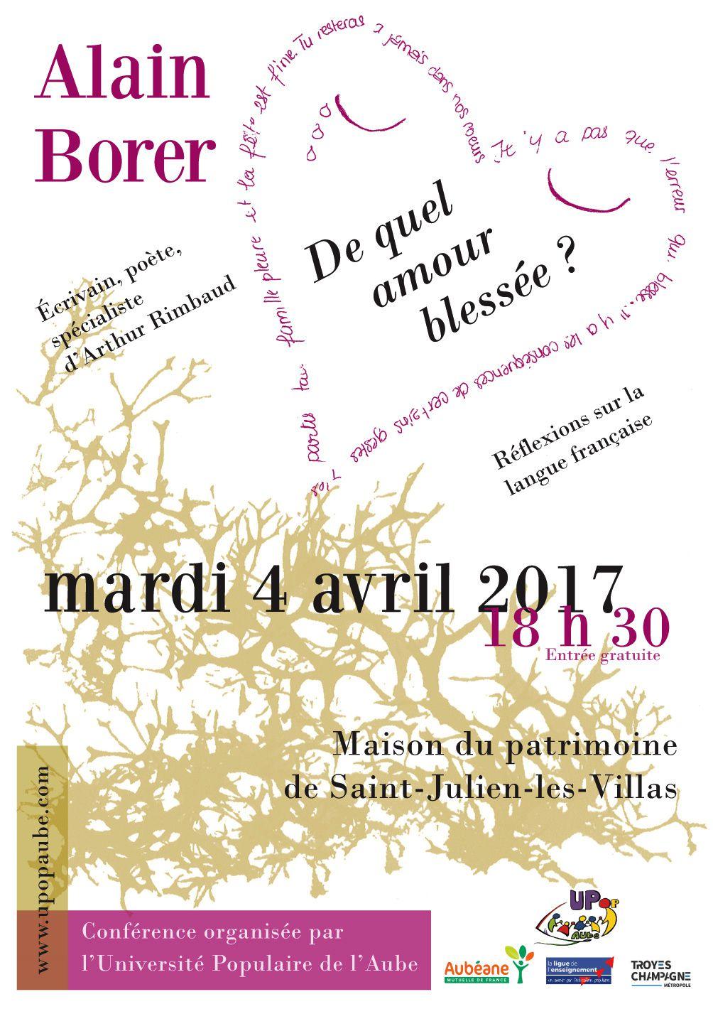4 AVRIL : &quot&#x3B;DE QUEL AMOUR BLESSÉE ?&quot&#x3B; - RÉFLEXIONS SUR LA LANGUE FRANCAISE