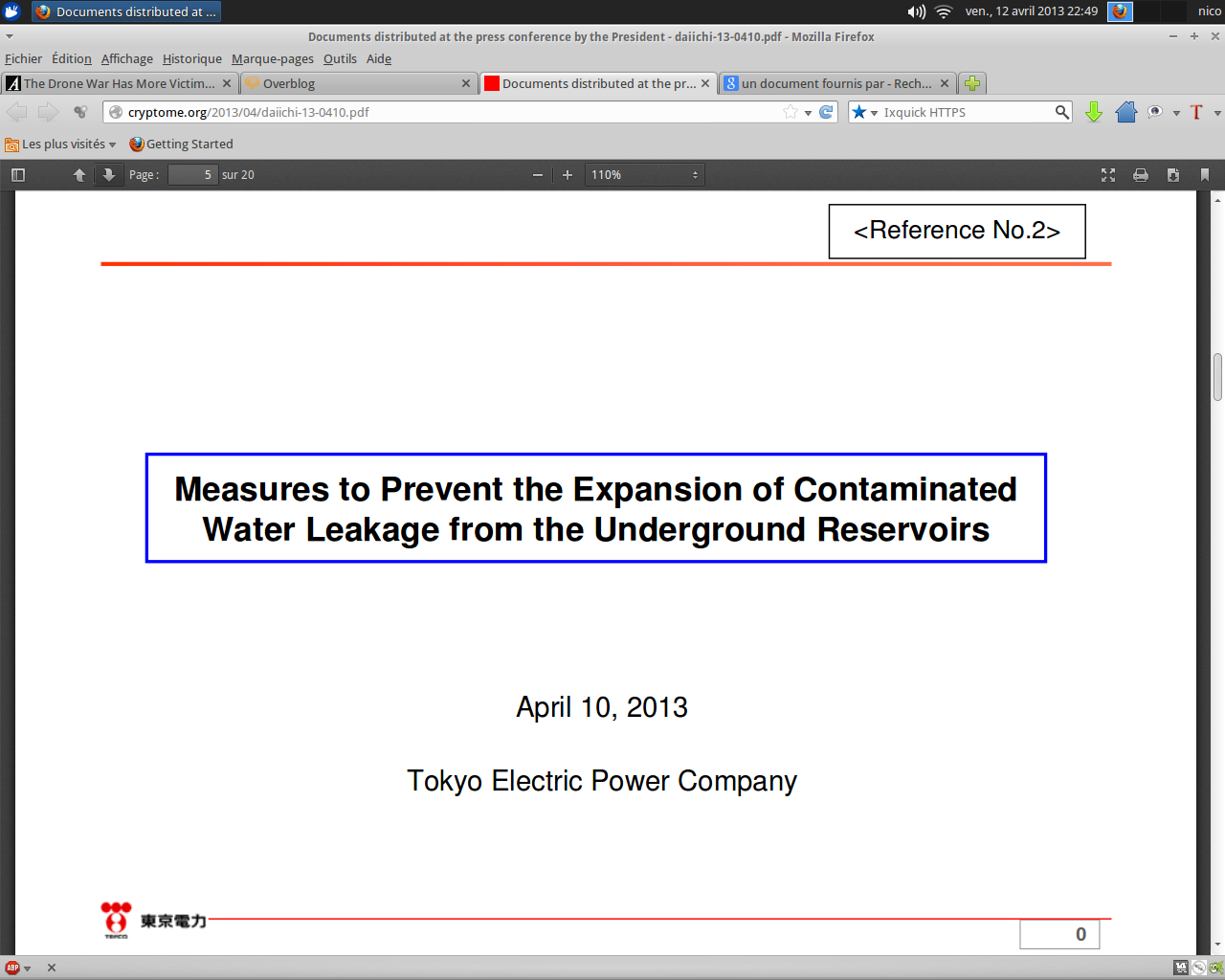 Fukushima: Plan Futur pour le Transfert D'eau des Réservoirs Souterrains