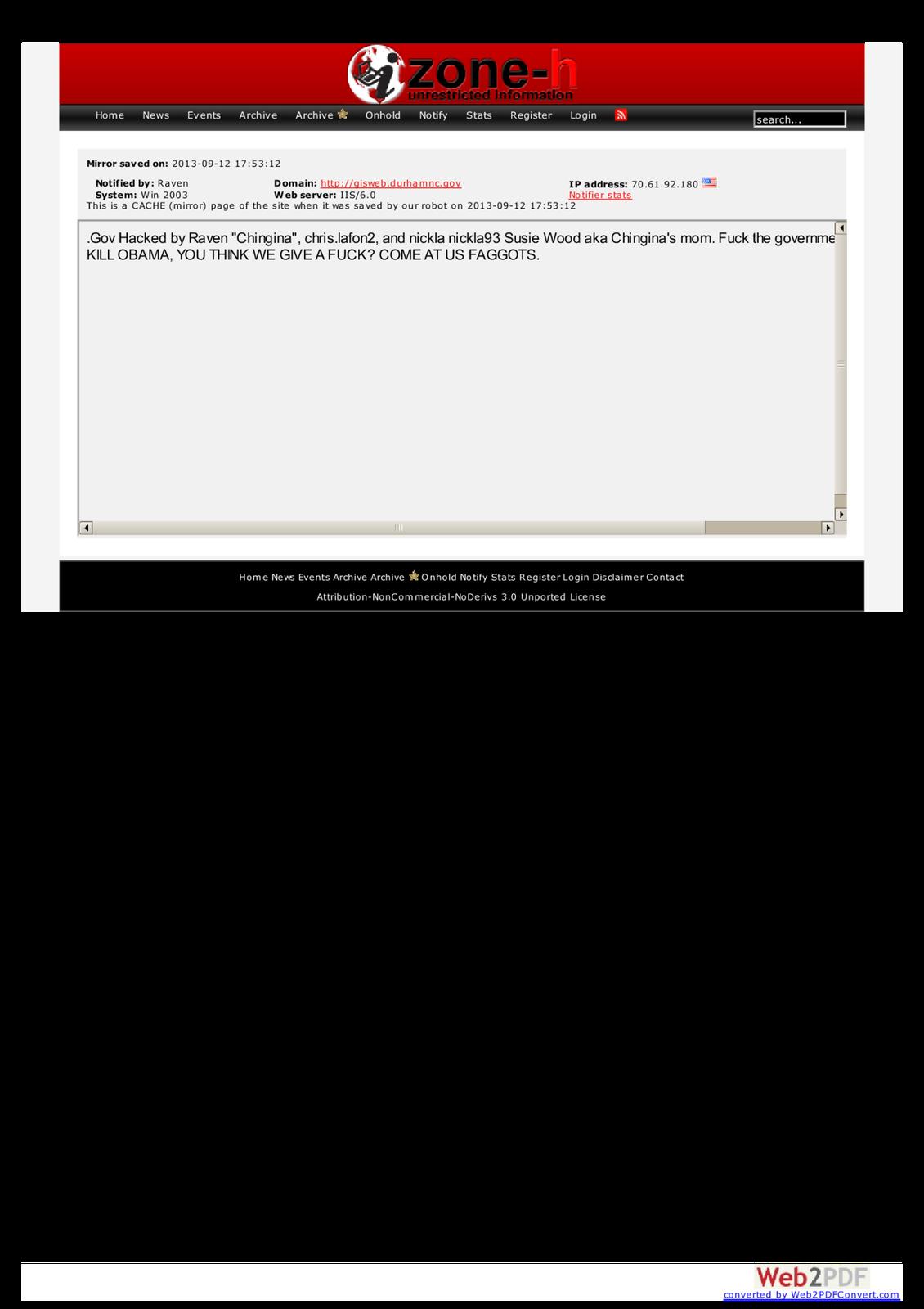 Caroline du Nord: Site Officiel piraté, le pirate informatique menace de tuer Obama