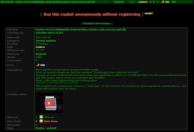 Un pirate russe met en vente un exploit Zero-Day Android visant Firefox
