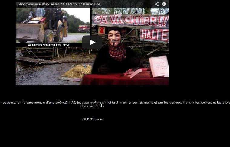 Les Anonymous, en soutien aux opposants à la construction du barrage de Sivens, ont piraté certains sites du Tarn. - Capture ecran http://musees-departementaux.tarn.fr/