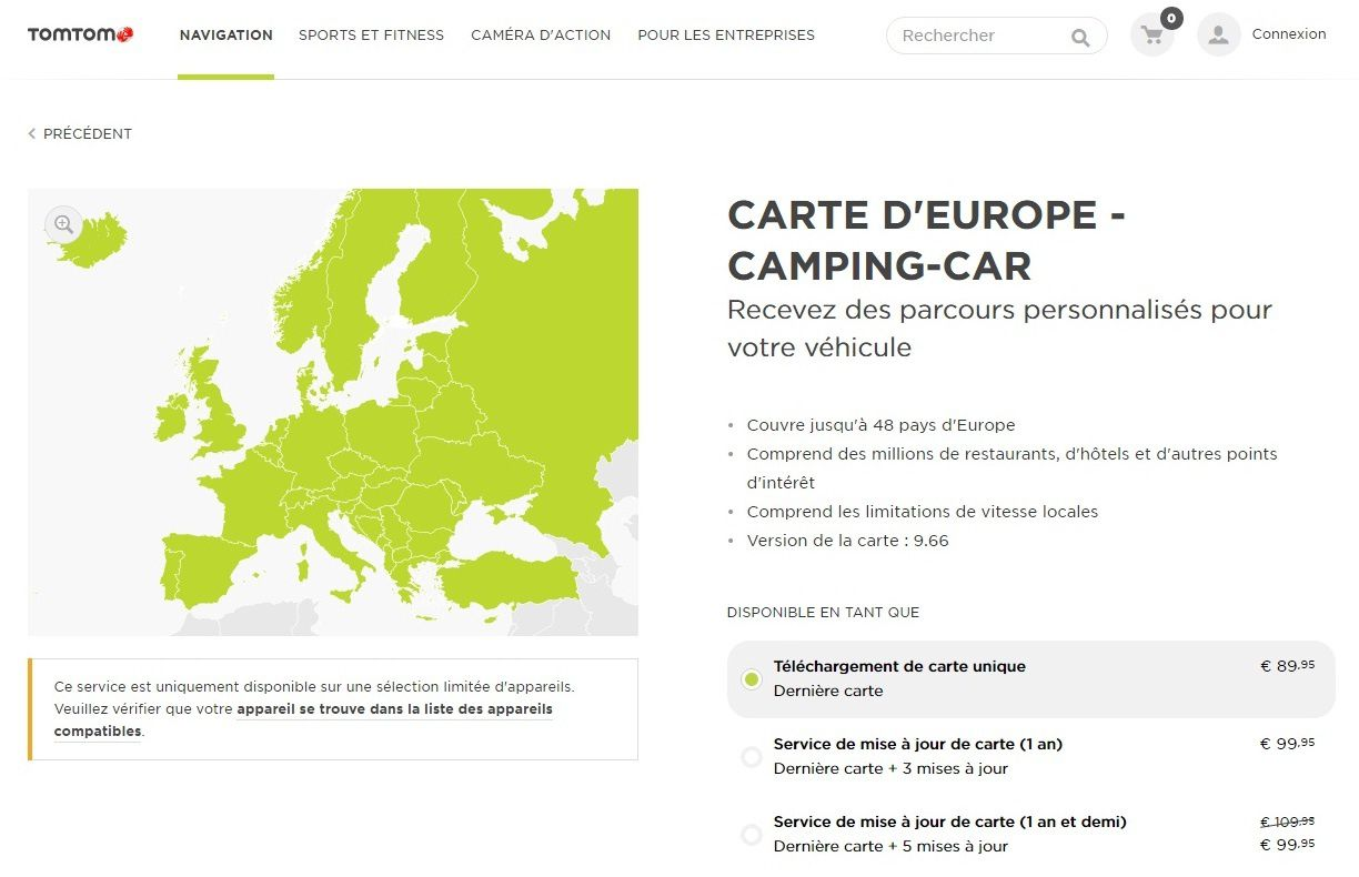 carte tomtom europe camper le retour cc passion ou la passion du camping car. Black Bedroom Furniture Sets. Home Design Ideas