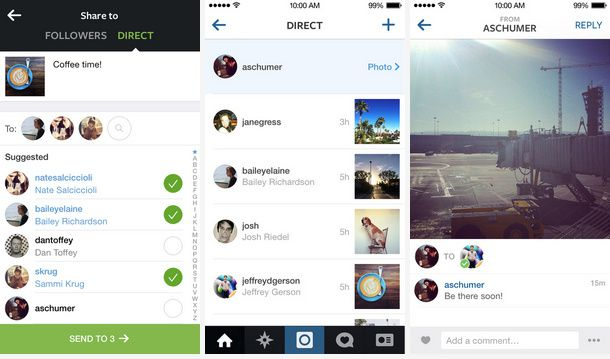 interface Instagram Direct