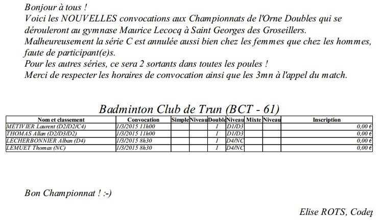 Convocations Orne Double