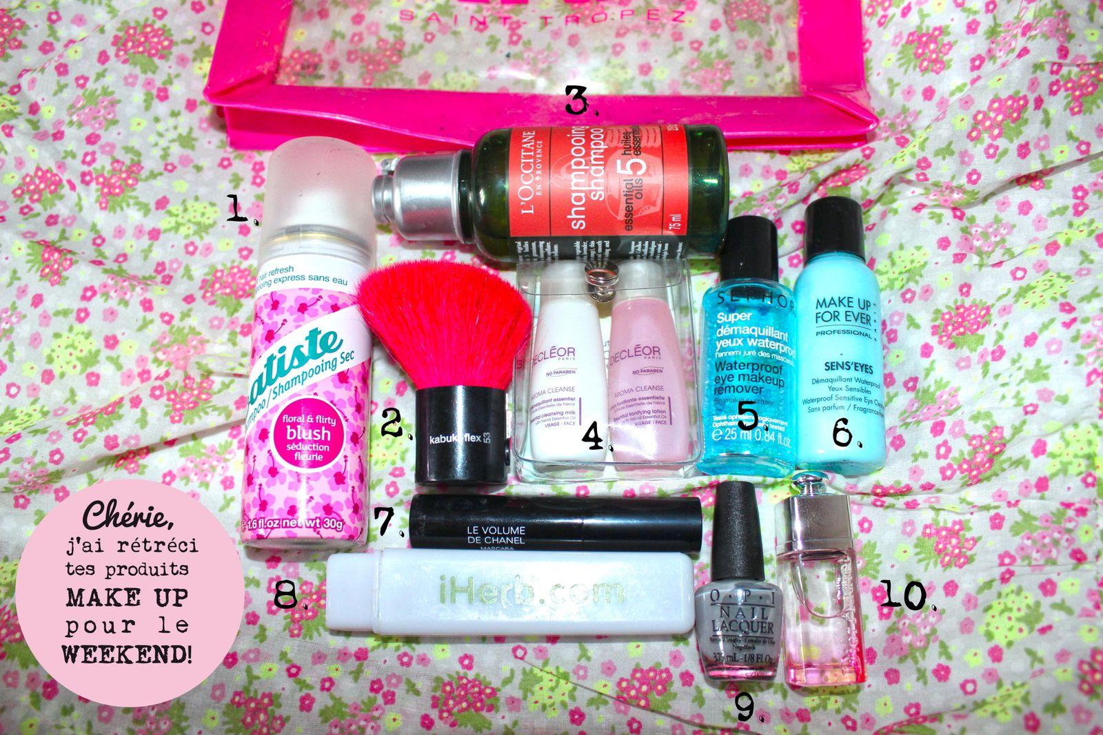 Les minis essentiels : Shampoing, démaquillants, mascara, pinceaux, brosse à dent, vernis