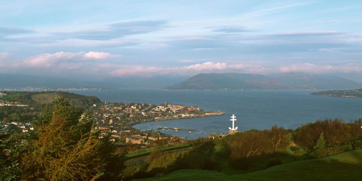 Scotland, Brittany. The town of Gourock on the Firth of Clyde, viewed from the golf course on