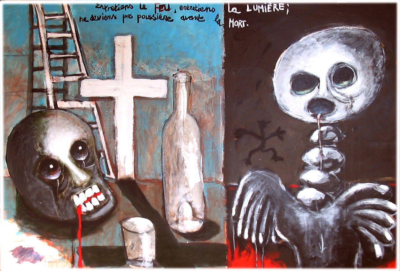 6 - ENTRETIENS LE FEU, ENTRETIENS LA LUMIERE, NE DEVIENS PAS POUSSIERE AVANT LA MORT  - Technique mixte - 75 x 110 cm.