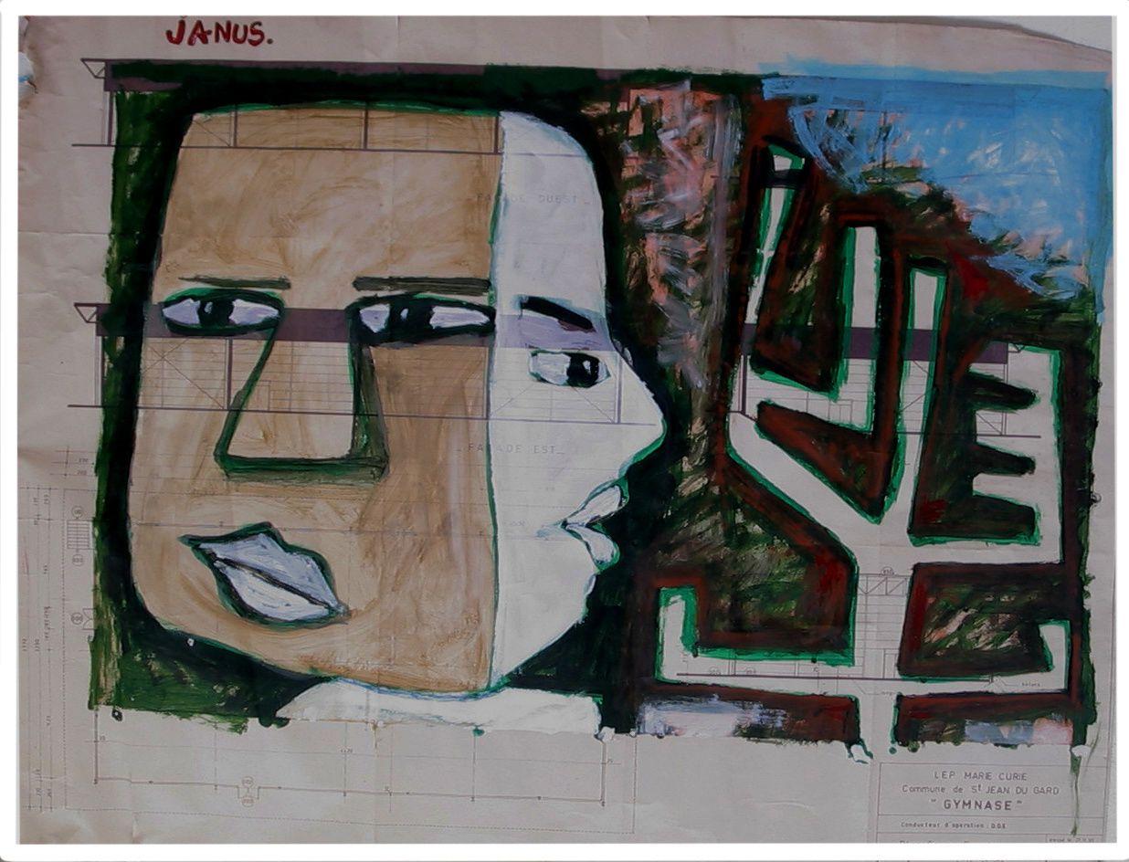 120 - JANUS -  Technique mixte - 97 x 74 cm.