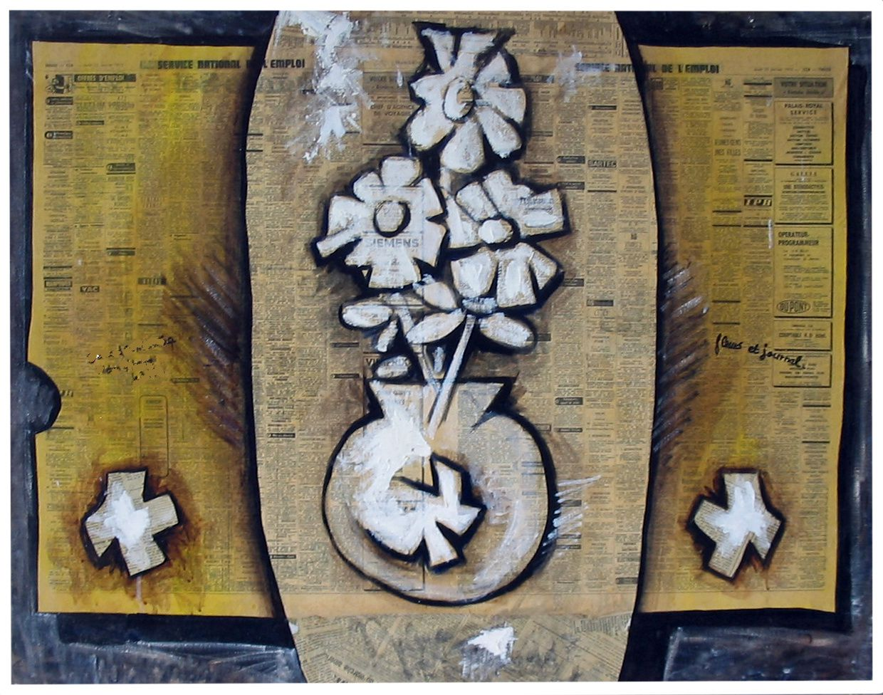 8 - FLEUR & JOURNAL  -Technique mixte - 73 x 92 cm.