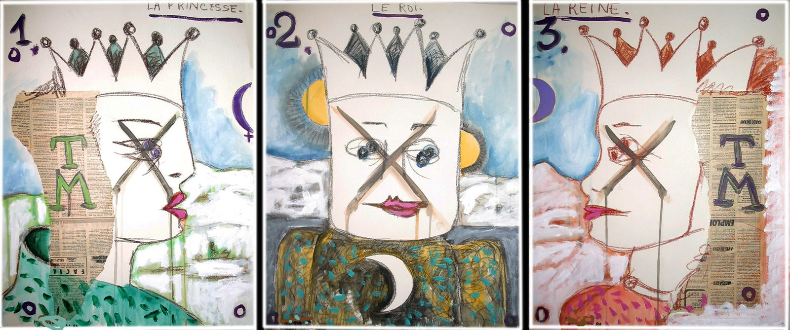 16 - LA PRINCESSE - LE ROI - LA REINE -Technique mixte - 3 x 65 x 50 cm.