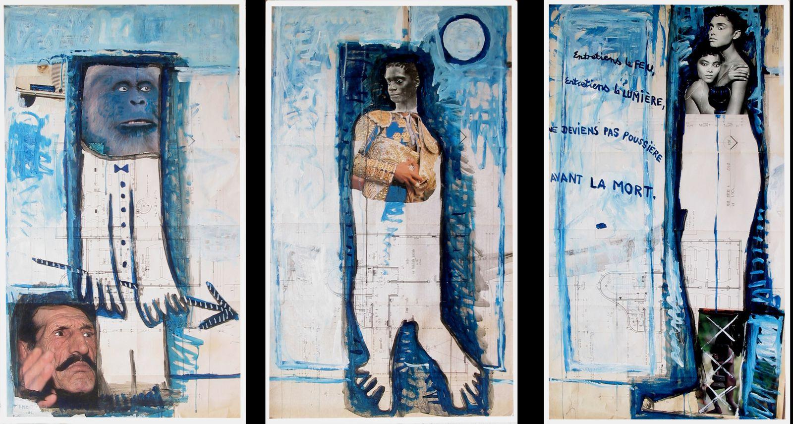 31 - ENTRETIENS LE FEU, ENTRETIENS LA MUMIERE NE DEVIENS PAS POUSSIERE AVANT LA MORT - -  Technique mixte - 3 x  118 x 68 cm. cm.