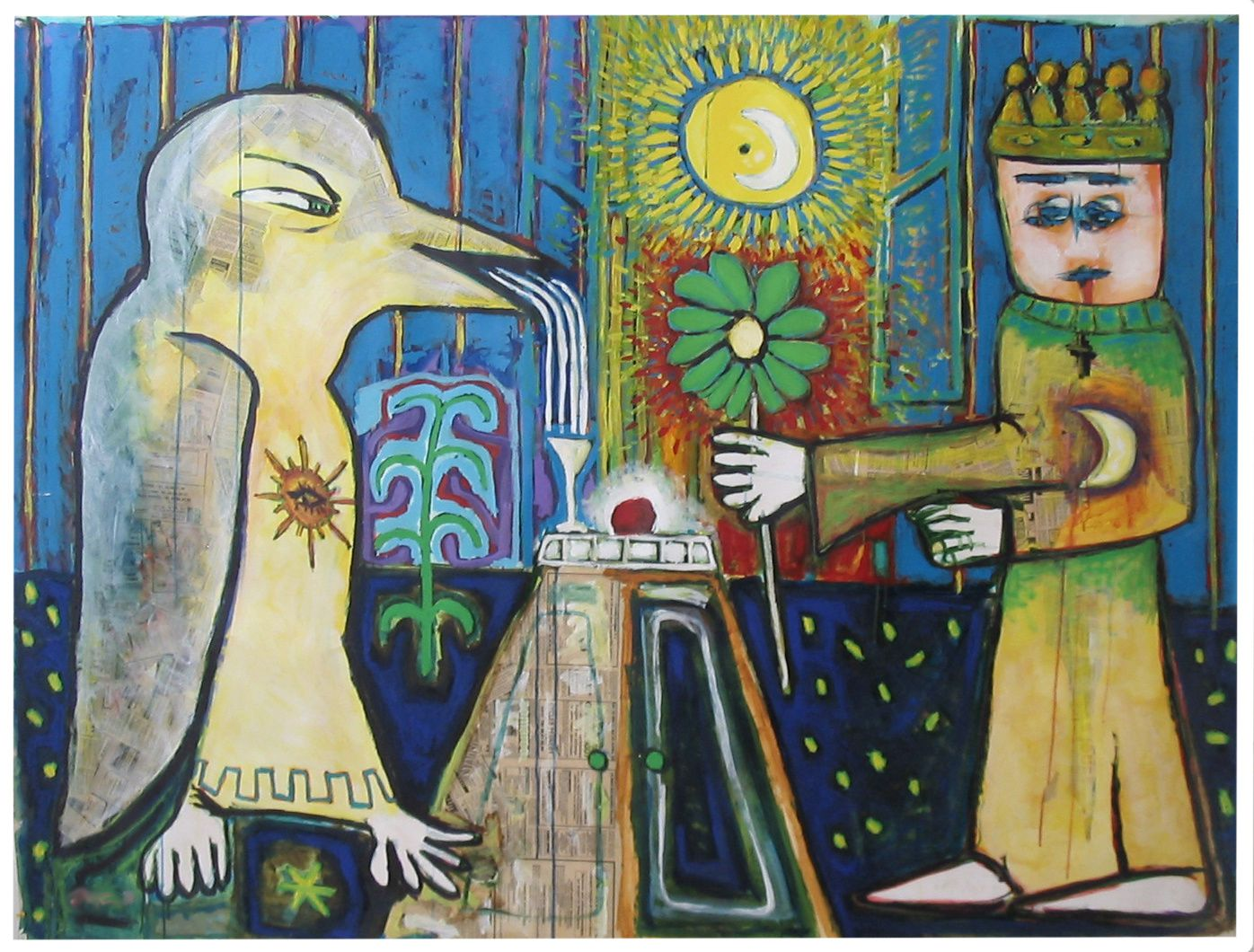 3 - LA VISITE AU PEDAUQUE -Technique mixte - 150 x 198  cm.