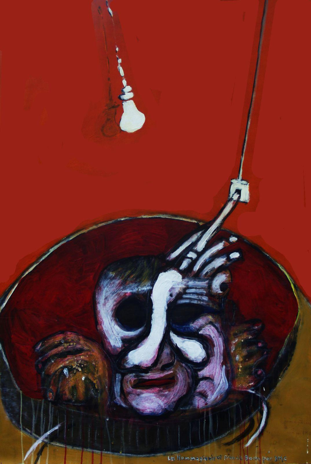 59 - Les Hommaginaires - Francis Bacon par BMC - Technique mixte 110 x 75 cm.