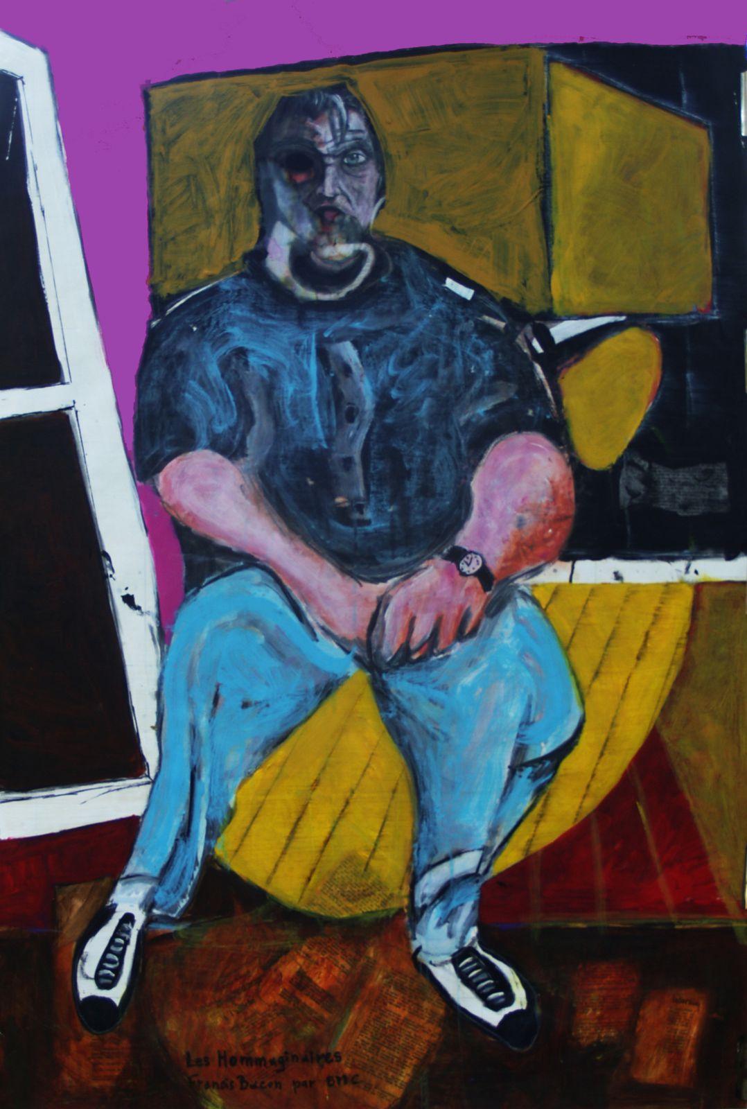 60 - Les Hommaginaires - Francis Bacon par BMC - Technique mixte 110 x 75 cm.