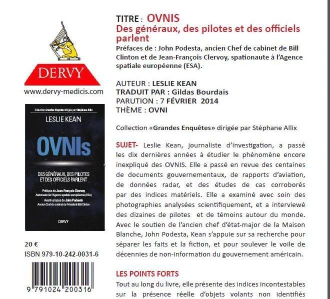 Sortie en Français du livre sur les ovnis de Leslie Kean Editions Dervy le 7 février 2014