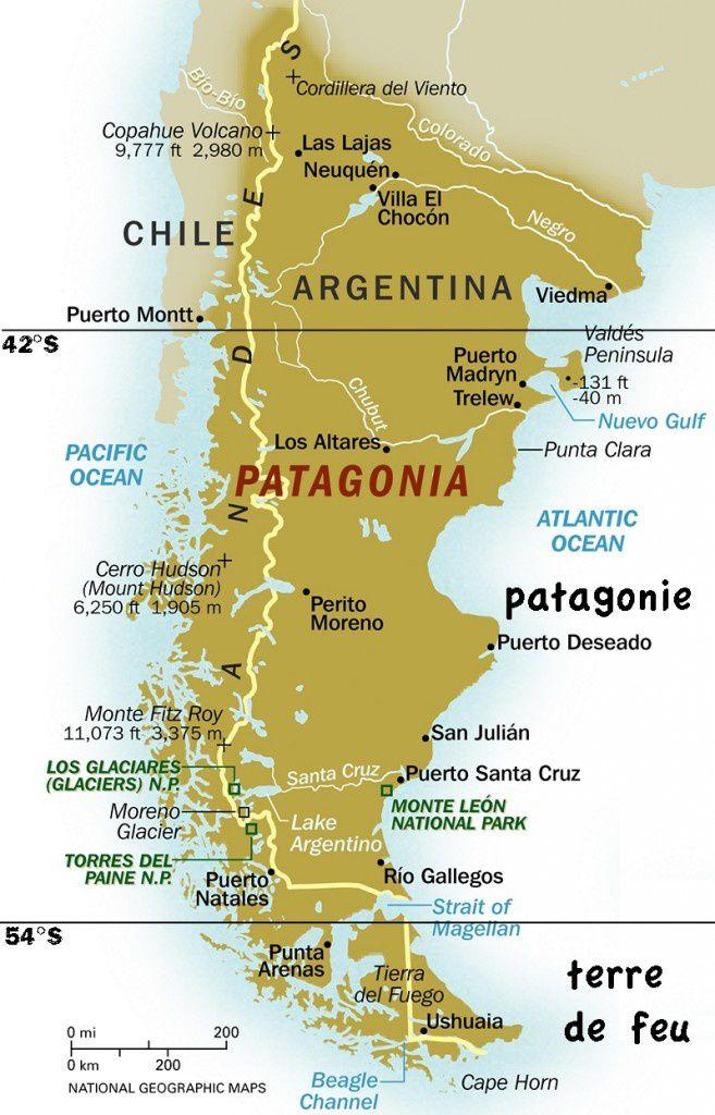 Image : carte de la Patagonie