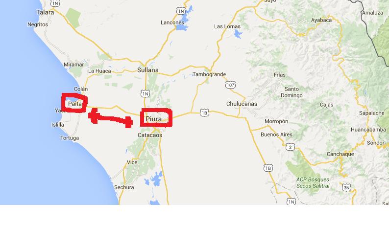 Image : la colline Inclan se trouve entre Puira et Paita, au Pérou, surlignée en rouge