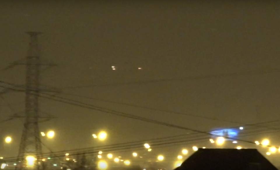 Photo extraite de la vidéo : ovnis à Moscou le 30 janvier 2016.