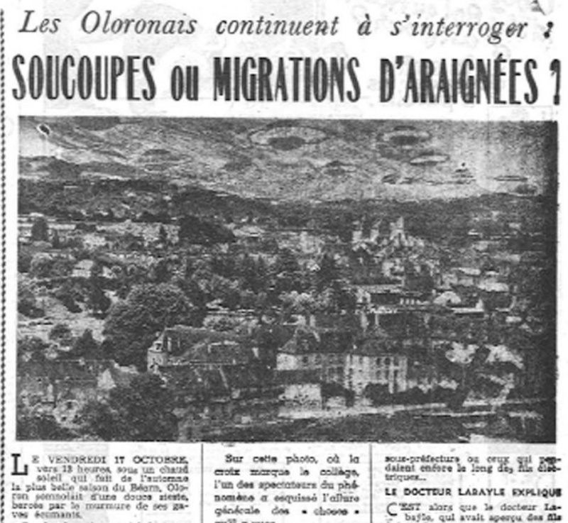 "L'affaire ovnis d'Oloron Sainte Marie : document du journal ""Sud-Ouest""."