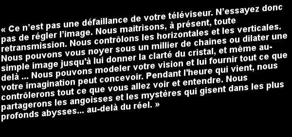 """Le Message de la série télévisée """"Au-Delà du Réel""""..."""