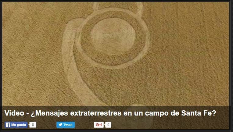 Photo : crop circle à Malabrigo, région de Santa Fe, en Argentine. Probablement le 21 octobre 2016...