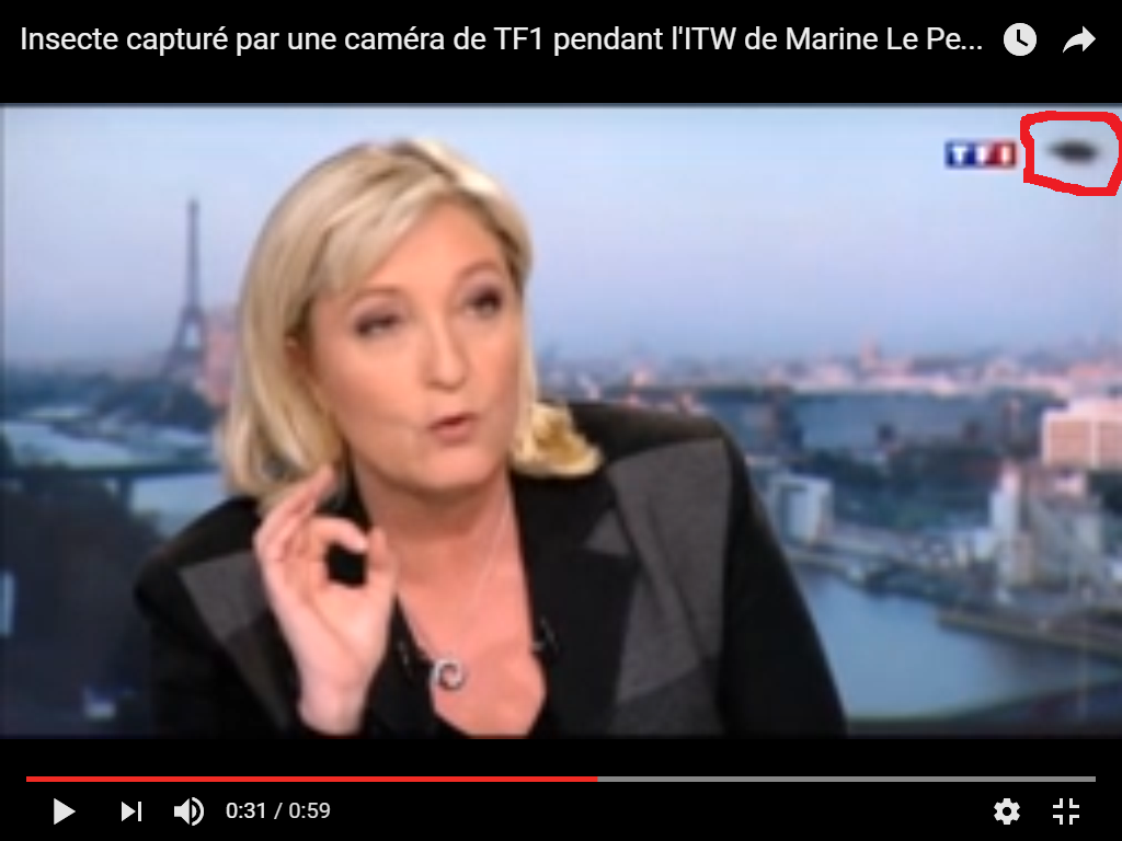 Photo : j'ai entouré en rouge l'ovni. A Paris, le 09 avril 2015. Sur TF1...