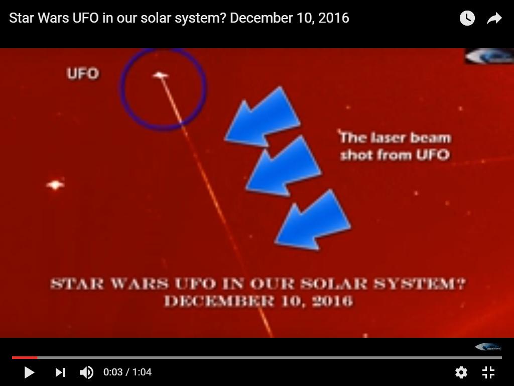 Photo : j'ai extrait cette image de la vidéo. Ovni avec rayon lumineux près du soleil, le 10 décembre 2016...