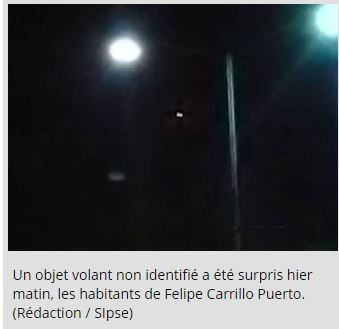 Photo : ovnis à Felipe Carrillo Puerto, au Mexique le 15 décembre 2016...