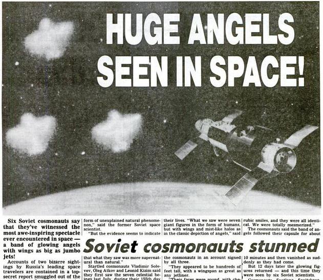 Image : cette coupure de journal (Le quel ?) relatant cette affaire d'Ovnis Anges survenue à l'équipage de Saliout-7, en 1984...