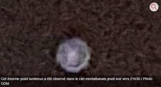 """Crédit photo DDM sur le site du journal """"La Dépêche"""". Ovni à Montauban, le 19 janvier 2017..."""