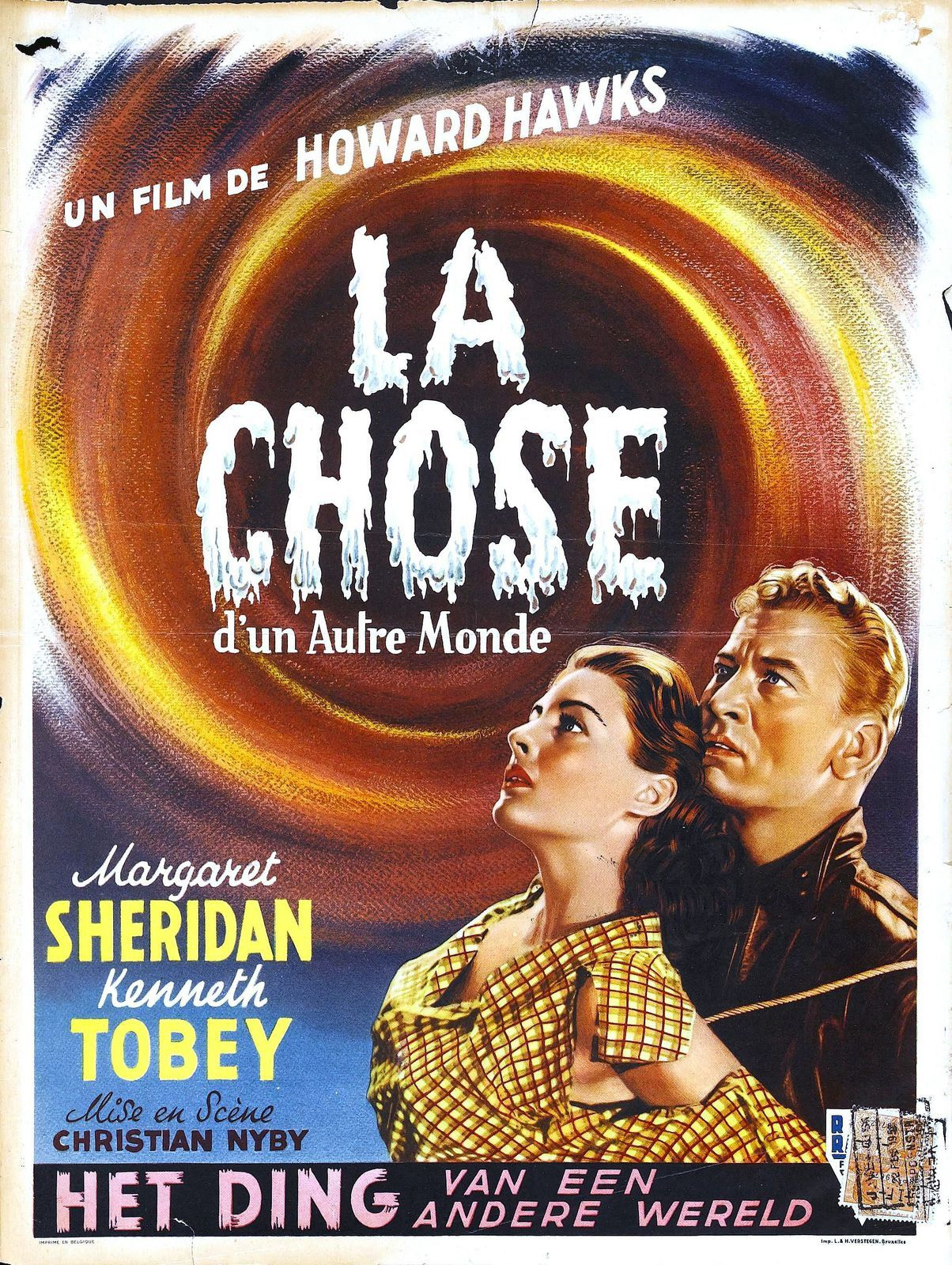 "Ici l'affiche du film des années 50 ""La Chose"", version Française du film ""The Thing from another world""..."