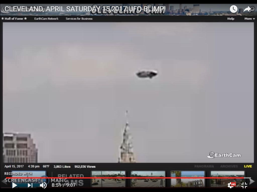 Photo : j'ai extrait cette image de la vidéo. Ovni-ballon à Cleveland, le 15 avril 2017...