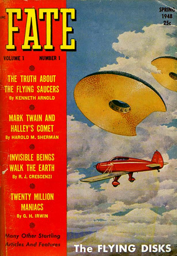 """Image : article de Kenneth Arnold dans le célèbre magazine """"FATE"""" aux USA..."""