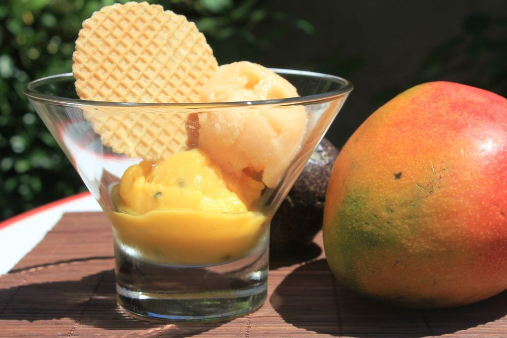 Sorbet mangue-passion et sorbet melon