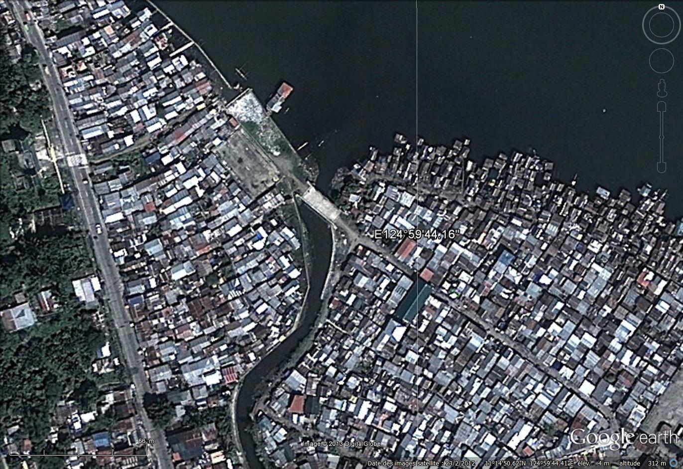 De fortes densité de population (imagerie Google)