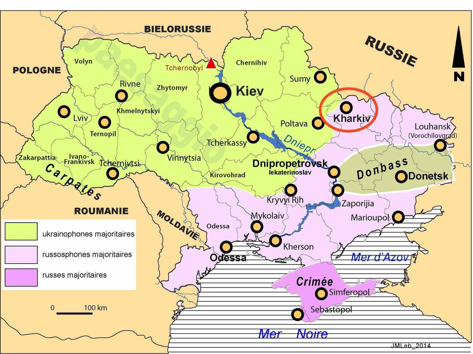 Image satellitaire de Kharkiv et croquis de situation