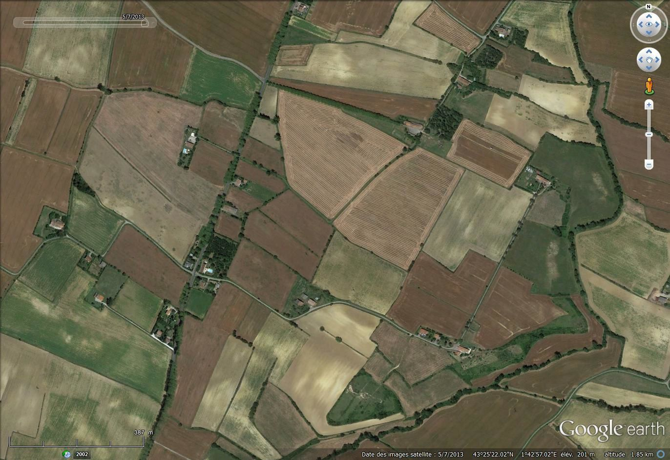 Lauragais, image Google earth de juillet 2013