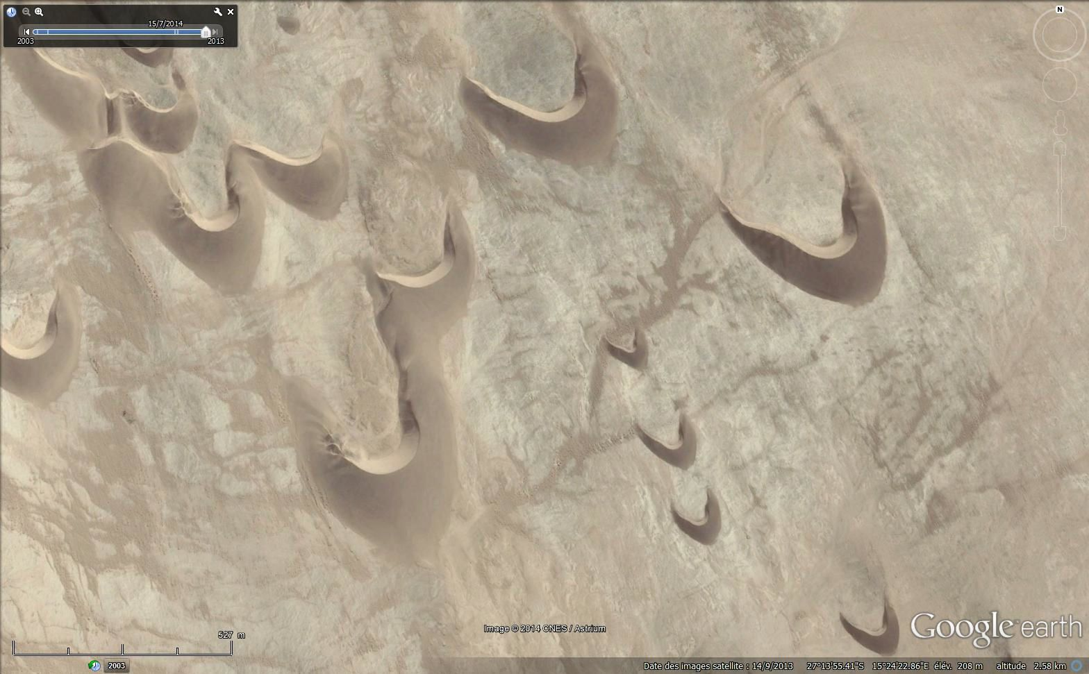 Barkhanes en Namibie (Google earth)